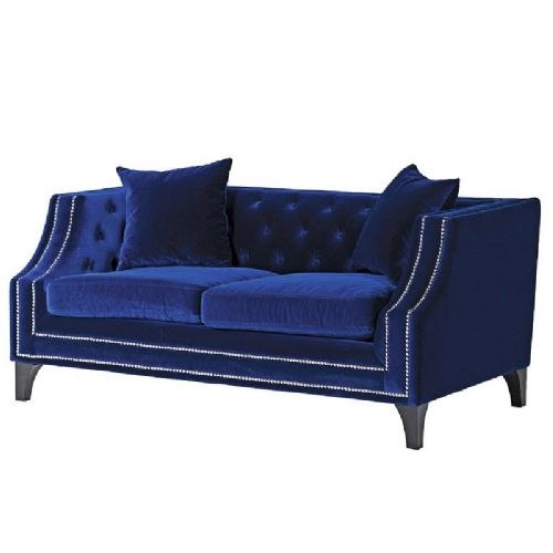 Heath Blue Studded 2 Seater Sofa